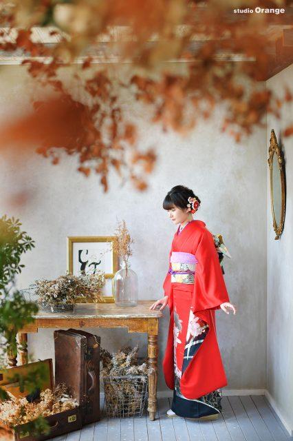 成人式前撮り 赤い振袖 赤い着物 二十歳 母娘撮影 ママふり
