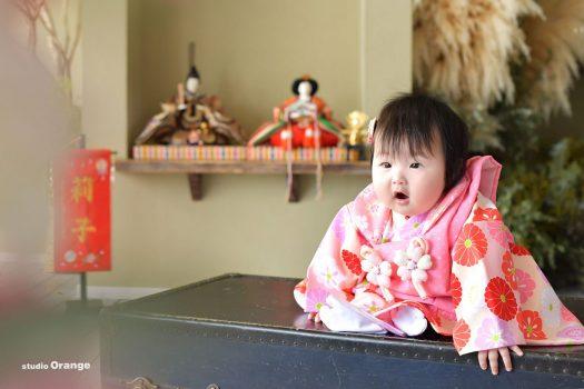 節句 女の子 お雛様 奈良 写真館 フォトスタジオ 着物 ピンク着物
