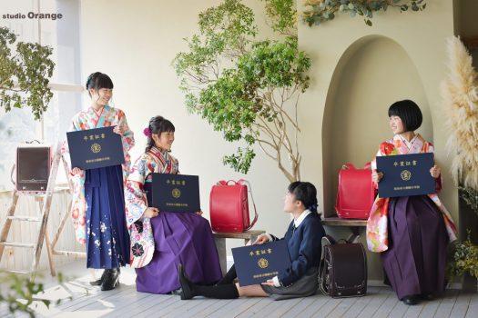 小学校 小学生 卒業 卒業袴 袴 緑の袴 ランドセル 入学 卒業 綺麗 奈良 スタジオ