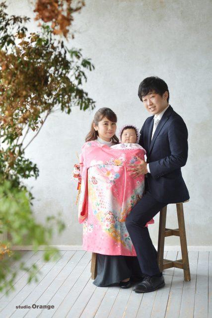 お宮参り ベビードレス 初着 春日大社 帯解寺 スタジオオレンジ 奈良写真館 ピンクの着物