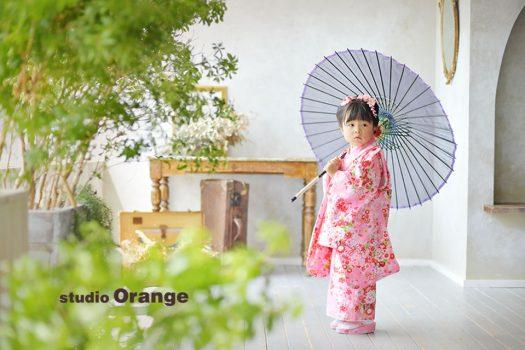 七五三 三歳女の子 奈良 写真館 フォトスタジオ 着物 被布