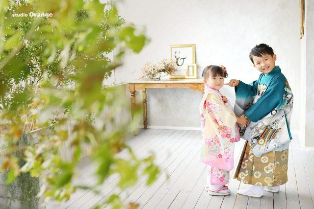 七五三 奈良 写真館 フォトスタジオ 三歳女の子 五歳男の子
