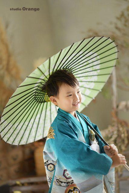 七五三 五歳男の子 着物 青 フォトスタジオ 写真館 奈良
