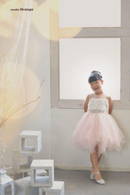 女の子 七五三 オレンジ着物 着物 写真館 奈良 フォトスタジオ