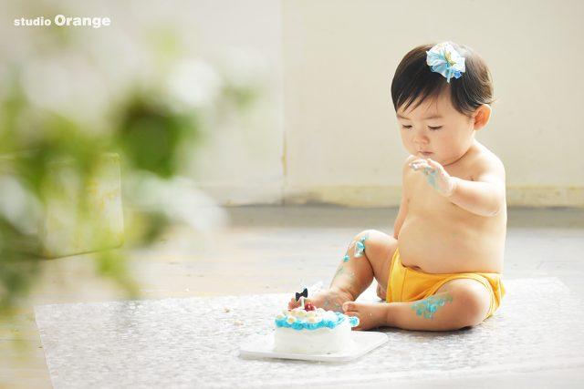 お誕生日 バースデー 男の子 1歳 写真館 奈良 フォトスタジオ スマッシュケーキ