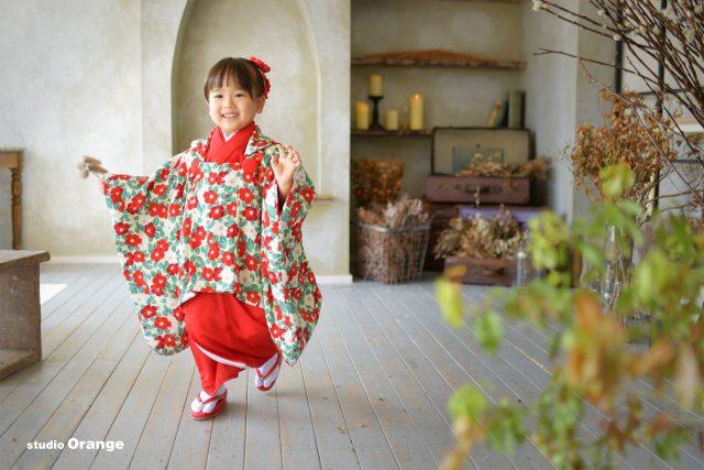 七五三 奈良市写真館 帯解寺 春日大社 3歳着物 赤い着物 参拝 着物