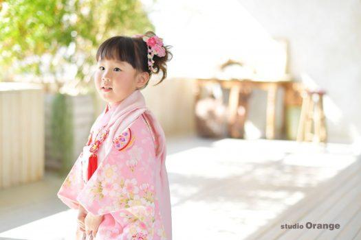 七五三 女の子 兄妹 ピンク着物 春日大社 奈良 写真館 フォトスタジオ