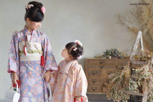 オリジナル着物 パステルカラー 7歳女の子 5歳男の子 3歳女の子 七五三 奈良 写真館 フォトスタジオ