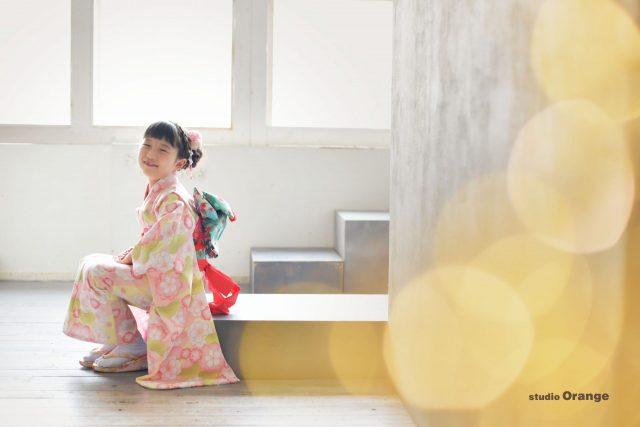 七五三 女の子 写真館 フォトスタジオ 奈良 兄妹 ピンク着物 着物