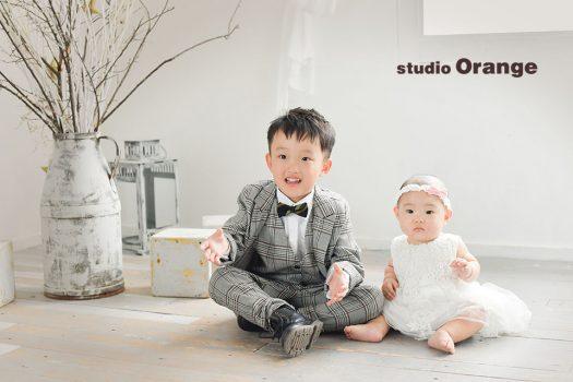 奈良店 スタジオ 写真館 バースデー 兄弟写し 姉妹写し 私服 スーツ ドレス