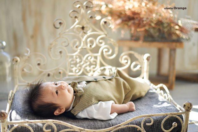 お宮参り 着物 初着 男の子 2ヶ月 ベビー かっこいい かわいい 黒色の着物 ベビータキシード おしゃれ スタジオ 奈良 奈良スタジオ