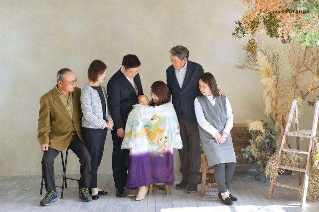 お宮参り 赤ちゃん 男の子 初着 奈良 写真館 フォトスタジオ 春日大社