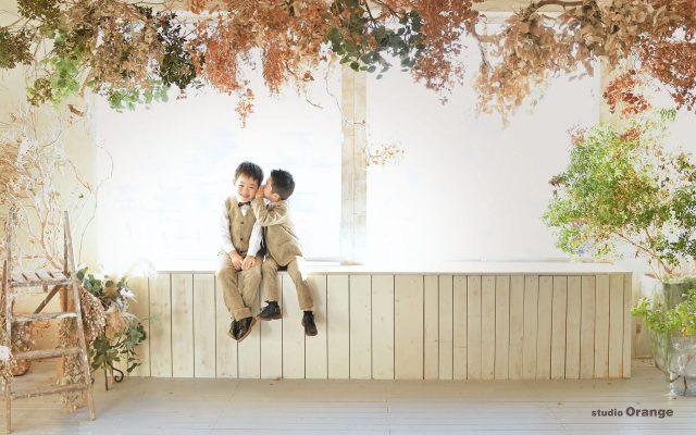 七五三 スーツ 洋装撮影 スタジオオレンジ 奈良市写真館 兄弟撮影