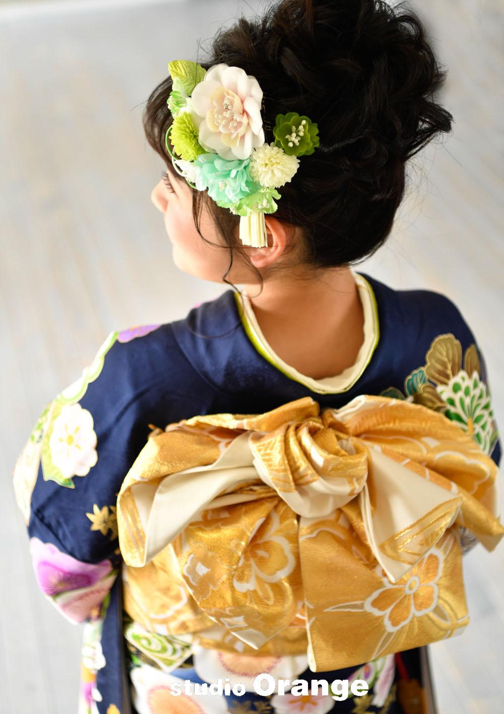 奈良市 レンタル振袖 成人式 成人式前撮り 成人式後撮り 紺色の振袖 ネイビーの振袖