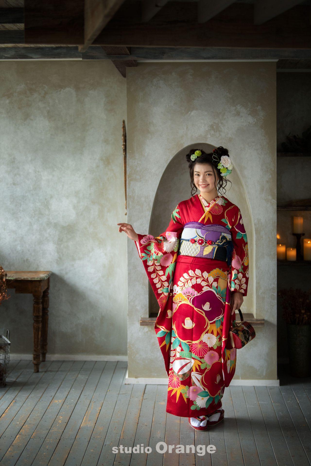 奈良市 レンタル振袖 成人式 成人式前撮り 成人式後撮り 赤色の振袖
