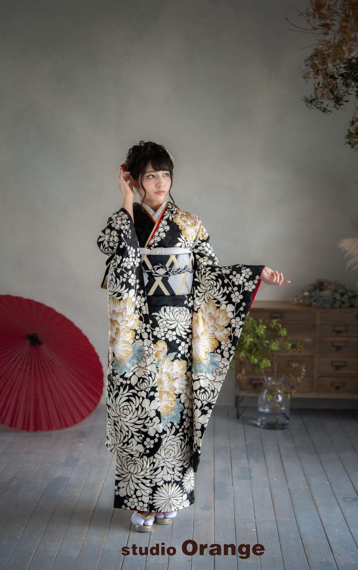 奈良市 レンタル振袖 成人式 成人式前撮り 成人式後撮り 黒色の振袖