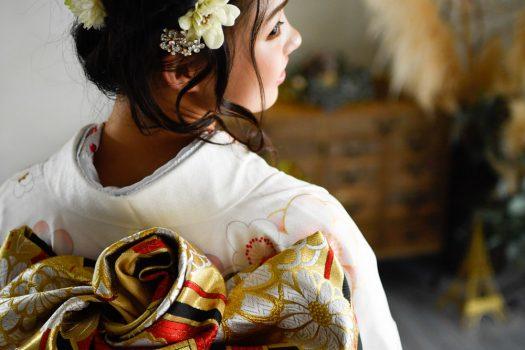 奈良市 レンタル振袖 成人式 成人式前撮り 成人式後撮り 白色の振袖