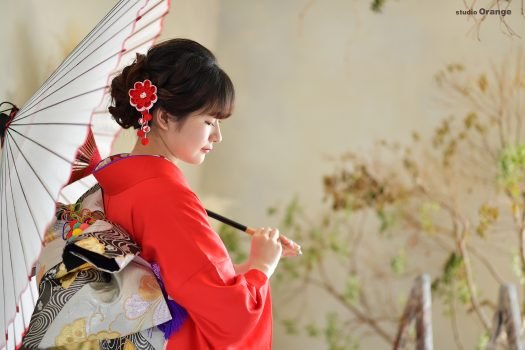 奈良県天理市 赤い振袖 ママ振 2021年成人式