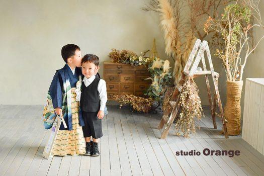 奈良店 フォトスタジオ 写真館 七五三 和装 着物 被布 帯 袴 兄弟写し