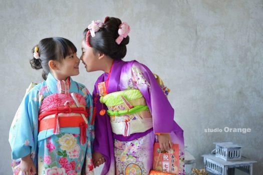 七五三 着物 七五三詣り お参り ツーショット 姉妹 日本髪 和服