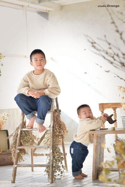 お誕生日撮影 カジュアル服 兄弟撮影 スタジオオレンジ 奈良市写真館