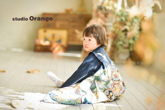 七五三 1人写し 和装 袴 被布 着物 奈良店 フォトスタジオ 写真館 オレンジ