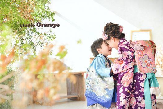 七五三 兄弟写し 姉妹写し 和装 袴 被布 着物 奈良店 フォトスタジオ 写真館 オレンジ