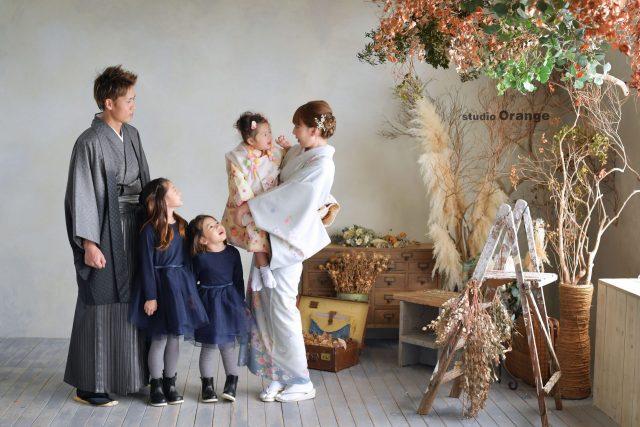 家族写真 七五三 着物 和装 被布 姉妹