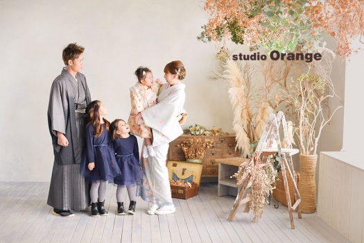 奈良店 フォトスタジオ 写真館 七五三 和装 着物 被布 帯 袴 家族写し