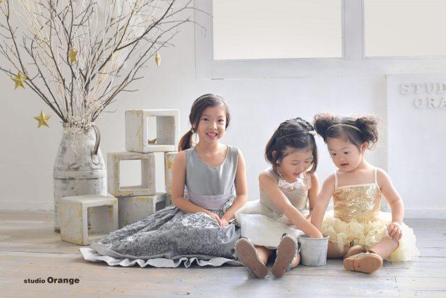 スリーショット ドレス 洋装 姉妹 写真 子供 女の子