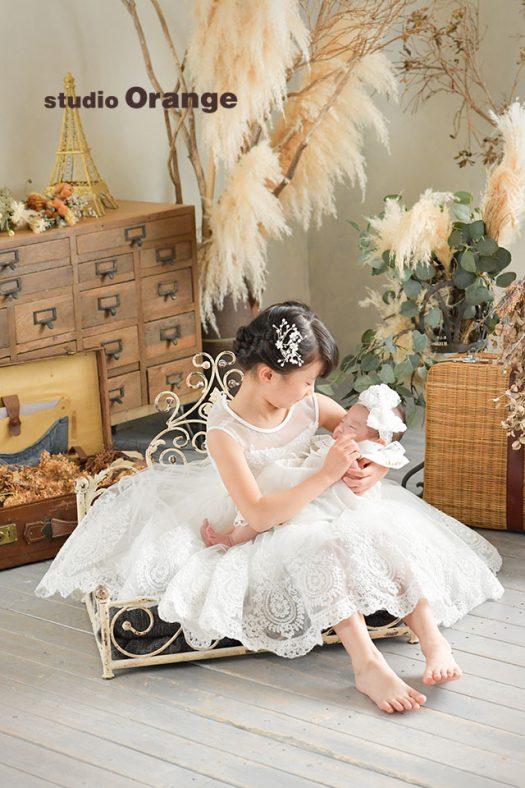 奈良店 フォトスタジオ 写真館 お宮参り 兄弟 姉妹 家族 和装 着物 産着 姉妹写し 兄弟写し