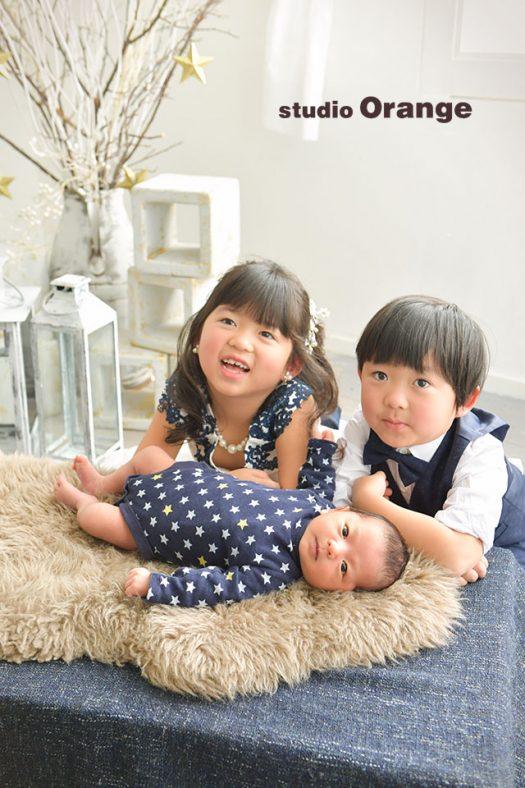 奈良店 フォトスタジオ 写真館 お宮参り 兄弟写し 生後1ヶ月 スーツ ドレス