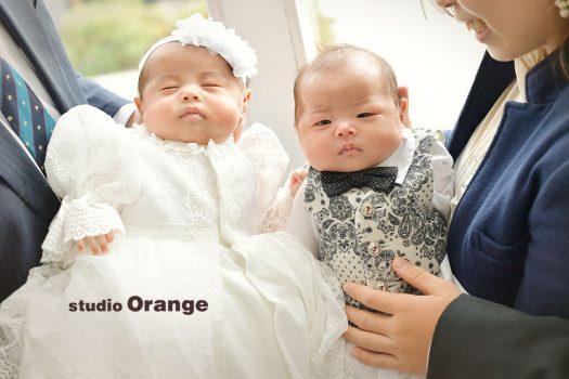 奈良店 フォトスタジオ 写真館 お宮参り 和装 産着 洋装 ベビードレス 兄弟写し 双子 男女双子