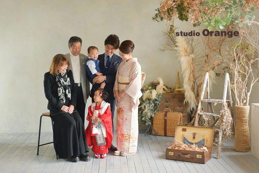 奈良店 フォトスタジオ 写真館 七五三 和装 着物 被布 袴 帯 家族写し