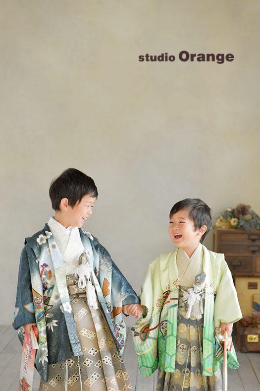 奈良店 フォトスタジオ 写真館 七五三 兄弟写し 和装 着物 袴