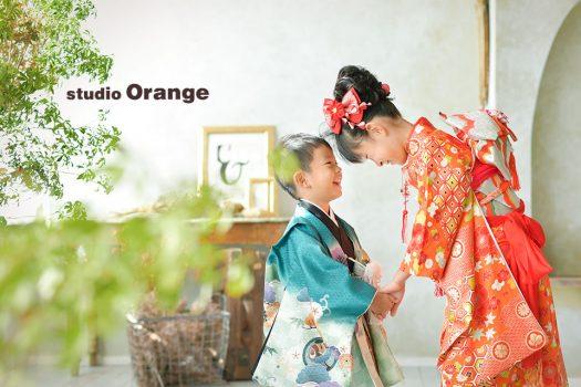 奈良店 フォトスタジオ 写真館 七五三 和装 着物 被布 袴 帯 姉弟写し