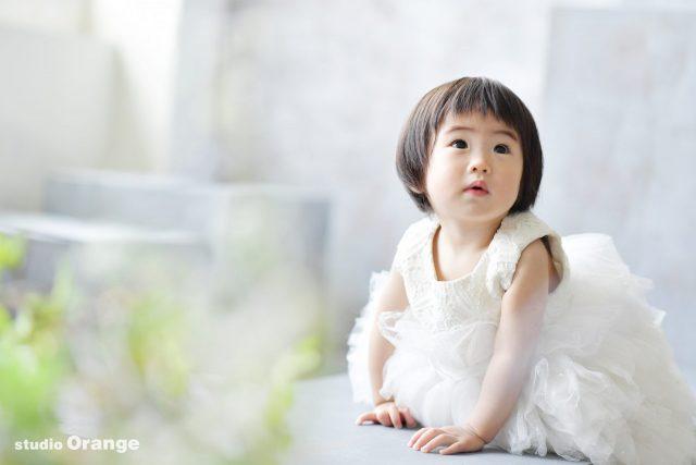 白いドレス 1歳お誕生日 バースデーフォト