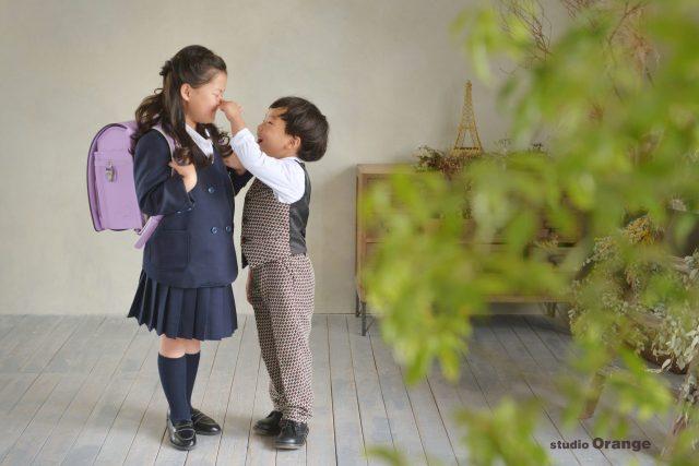 入学 2ショット ブレザーの女の子