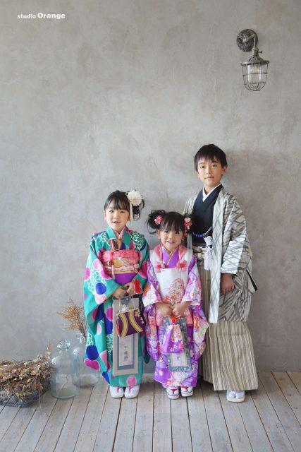 七五三 兄弟写真 3人 着物 和装 袴 7歳 5歳 3歳