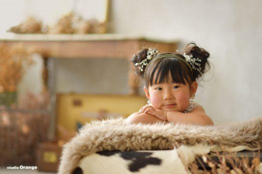 スタジオオレンジ ドレス 女の子 フォトスタジオ 七五三 奈良市写真館