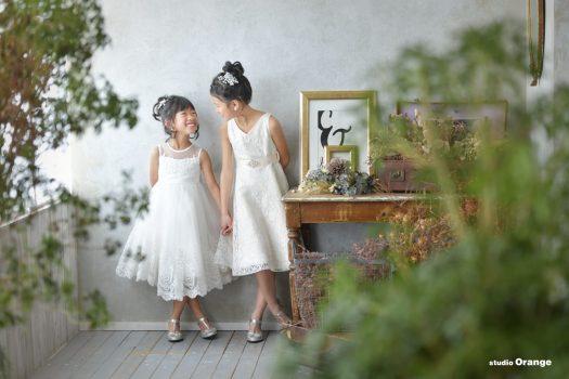 お誕生日 バースデー撮影 ドレス 女の子 姉妹撮影 奈良市写真館 スタジオオレンジ
