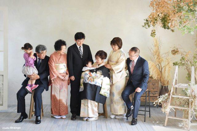 お宮参り 家族写真 両家大集合 訪問着 奈良市 写真館