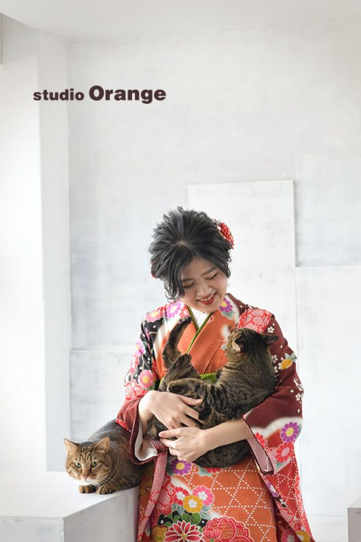 奈良店 フォトスタジオ 写真館 成人式 振袖 1人写し ペット 猫