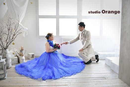結婚式 ウェディング ドレス タキシード 洋装 ベール フォトスタジオ 奈良店 オレンジ フォトウェディング 写真だけの結婚式 ウェディングドレス カラードレス 色ドレス 白ドレス