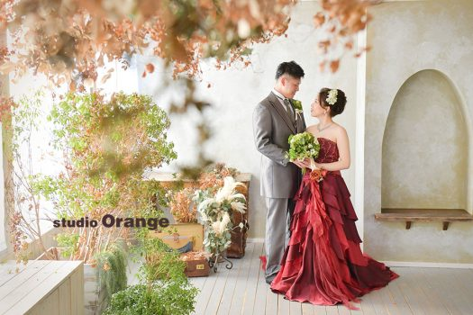 フォトスタジオ 写真館 ブライダル ウェディング カラードレス 色ドレス 赤ドレス 2人写し 奈良市 学園前 生駒 大和郡山市 精華町 木津川市
