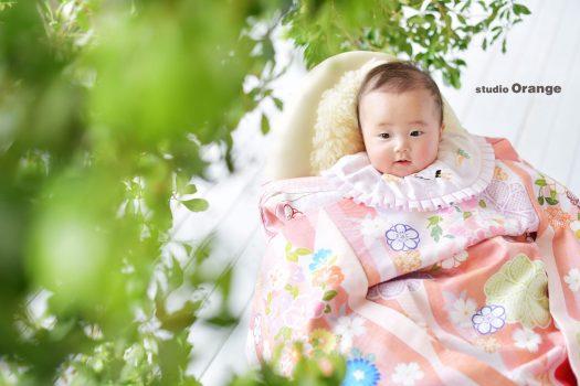 奈良市 お宮参り 3ヶ月女の子 サーモンピンクの着物