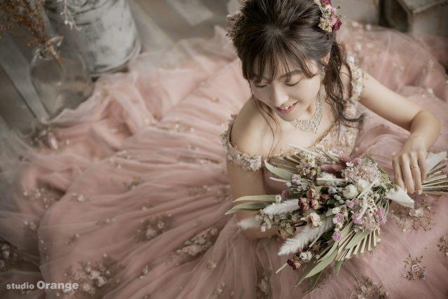 奈良県大和郡山市 ウェディングフォト 前撮り ピンクのドレス プレ花嫁