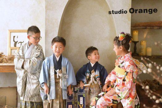 奈良 写真館 フォトスタジオ 女の子 紫 着物 兄弟 姉妹