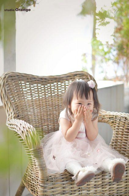 奈良フォトスタジオ 奈良写真館 女の子 バースデー 2歳 ドレス お誕生日撮影 ピンクドレス