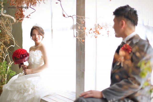 フォトウェディング ドレス撮影 バラの花束